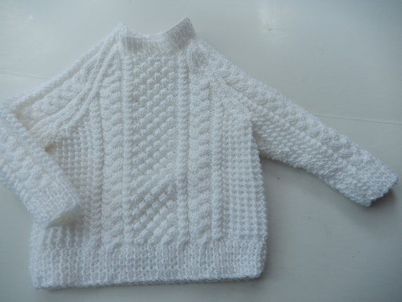 Hand Knit Sweater Baby Jumper White Pullover White Baby Etsy