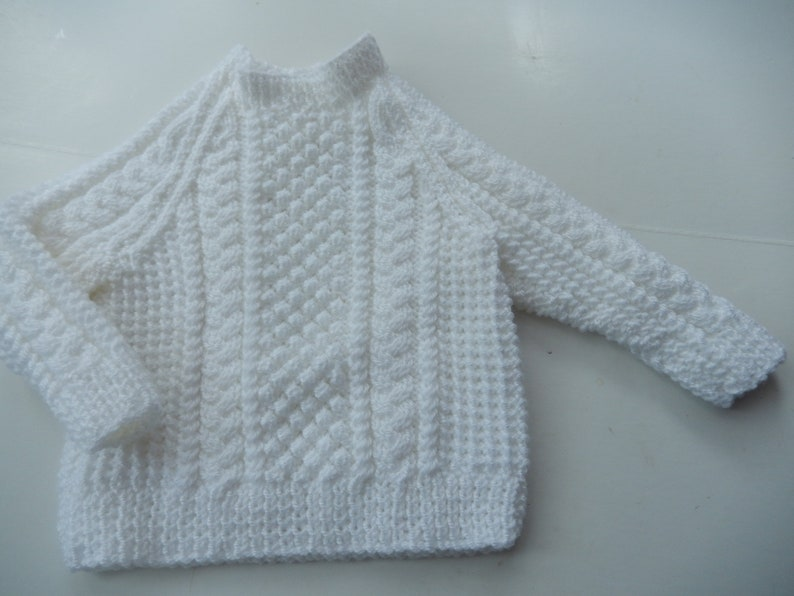 90cfc6543 Hand knit sweater   baby jumper   white pullover   white baby