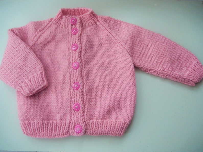 d4666716f Knitted baby girl cardigan hand knit pink baby sweater 3-6