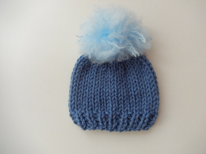 8b166b06e knitted baby hat / denim blue cap / hat with pompom / hand knit baby cap /  small baby beanie / reborn baby cap / boys beanie