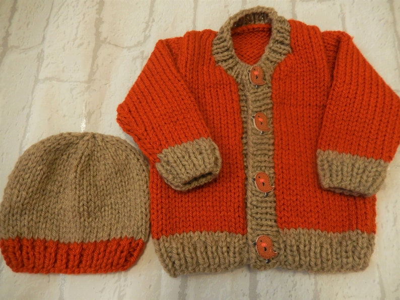f24a41dbc Hand knit sweater set   0-3 month cardigan   hat