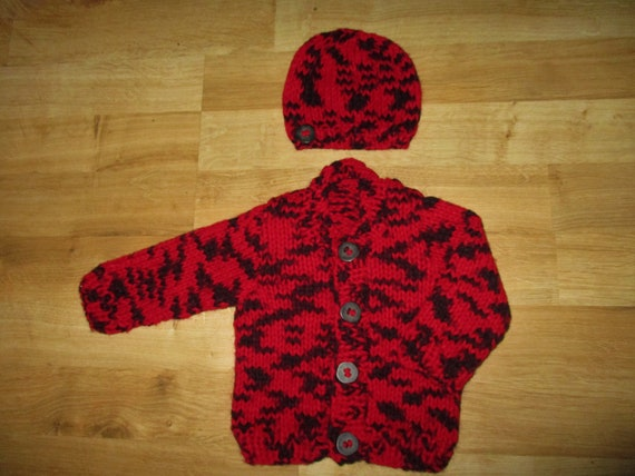 0952b0152 hand knit baby cardigan red   black baby sweater knitted