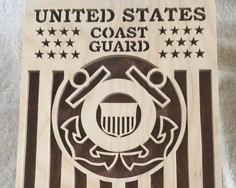 Coast Guard Military Plaque, stained, scroll saw, can be personalized, Wall Hanging