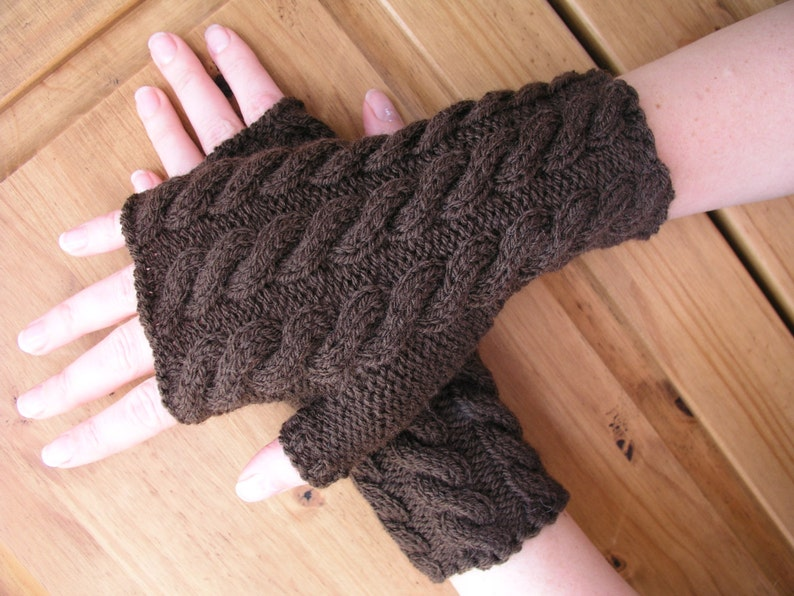 Brown cable hand knitted wrist wamers / fingerless gloves image 0