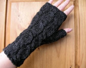 Alpaca fingerless gloves / wrist warmers hand knitted charcoal