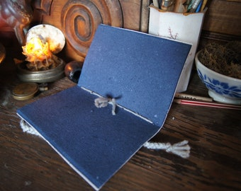 Little Notebook with Lichen Paper Cover & Blue Pages - Handmade Paper - 10 Pages
