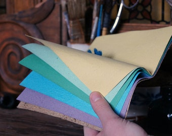 Little Notebook with Rainbow colorful pages - 10 pages - Handmade paper - Bright colors - Vegetal paper Rooibos cover