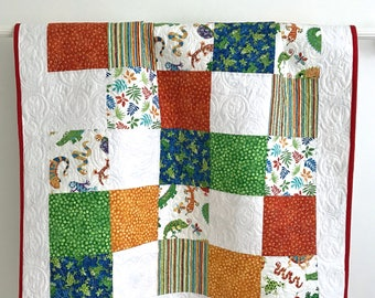 Baby Boy Patchwork Quilt Featuring Whimsical Reptiles Red Yellow Blue Green White