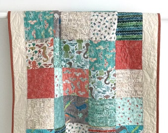 Baby Quilt Boy Patchwork Wilmington Prints Under the Ocean Aqua Blue Coral Cream