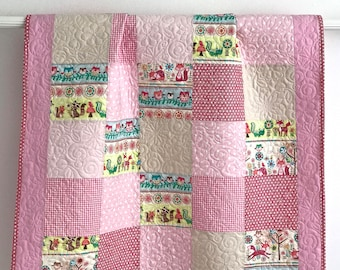 Baby Quilt Girl Patchwork Foxes Owls Pink Tan