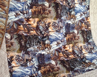 Twin or Lap Quilt with Nature and Woodland Scenery