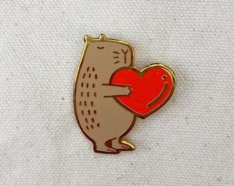 Hug Heart Capybara Metal Pin