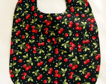 Adult Bib - Cherries Print