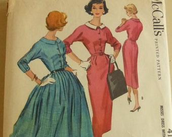 Rescued Vintage Mc Call's Pattern 4179 Misses Size 14 Dress with Slim and Full Skirt