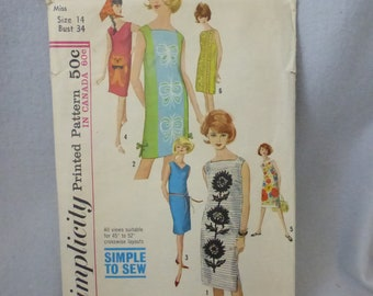 Vintage Simplicity Pattern 5309 Misses Simple to Sew Dress with 3 Necklines Size 14