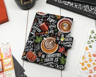 Planner Cover - in Pumpkin Spice Coffee fabric - F1
