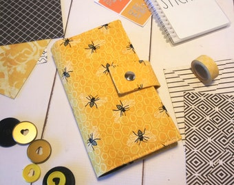 Hobonichi Weeks/Mega or 7 Disc Happy Planner Skinny Mini Wallet - in Andover Sunny Bees fabric - F1