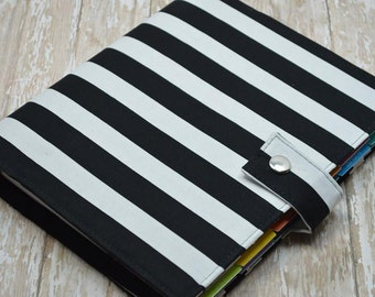 Planner Cover - in Black and White Stripe fabric - F2