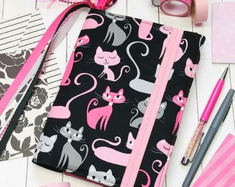 Bullet Journal Cover - in Robert Kaufman Whiskers and Tails fabric - F2