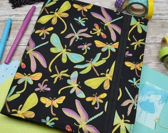 Planner Cover - in Timeless Treasures Metallic Dragonfly fabric - F1
