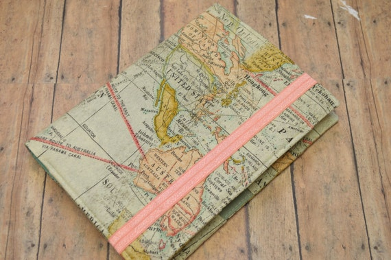 bullet journal cover in world map fabric h2 etsy