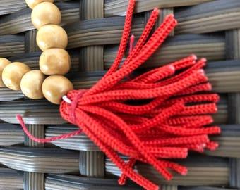Handmade Buddhist Wrist Mala Prayer Beads White Wood Chini Rosary Hindu Yoga Mantra Tibetan Ritual Item