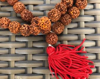 Handmade Rudraksha Mala Prayer Beads Necklace Rosary Hindu Buddhist Yoga Mantra  Ritual Item