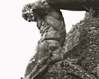 Seaside Neptune, Il Gigante - Monterosso al Mare, Cinque Terre, Liguria, Italy - Black and White Travel Photography Print Rustic Wall Art