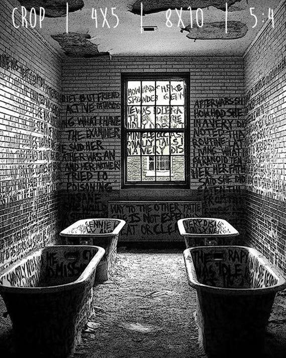 Door at Manteno State Hospital  Manteno Illinois   Abandoned Asylum Black and White Photography Print  Mental Institution Architecture
