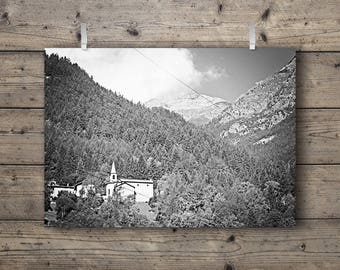 Church in the Alps / Black & White Mountain Landscape / Travel Photography Print / Pine Forest Woodland Nature Wall Art / Outdoors Decor