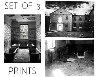 Abandoned Asylum / Manteno State Hospital, Illinois / Set of 3 Black and White Photography Prints / Mental Institution Architecture Wall Art