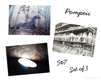 Pompeii Set of 3 Travel Photography Prints, Italy Ancient Art Architecture Home Decor Wall Art