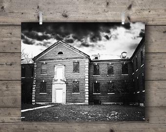 Abandoned Building at Manteno State Hospital / Manteno, Illinois  / Black and White Photography Print / Mental Asylum Architecture