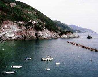 Red Mountain by the Sea - Monterosso, Cinque Terre, La Spezia, Liguria, Italy - Meditteranean Sea Landscape Travel Photography Print 5x7