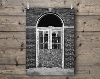 Door at Manteno State Hospital / Manteno, Illinois /  Abandoned Asylum Black and White Photography Print / Mental Institution Architecture