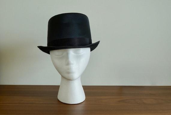 Vintage Black Silk TOP HAT, Steampunk hat, Edwardi