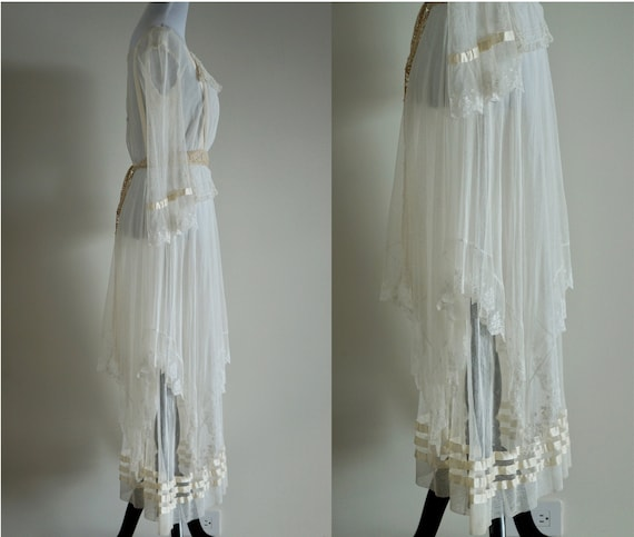 Edwardian Net Lace Dress, Antique 1910s Wedding D… - image 4