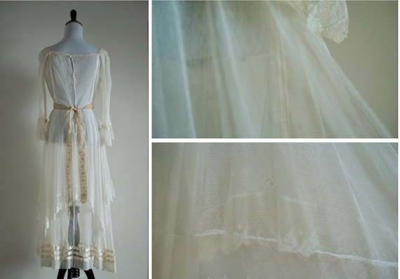 Edwardian Net Lace Dress, Antique 1910s Wedding D… - image 6