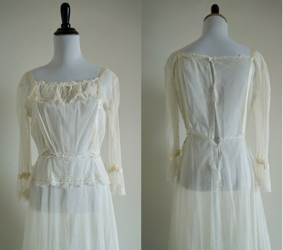 Edwardian Net Lace Dress, Antique 1910s Wedding D… - image 7