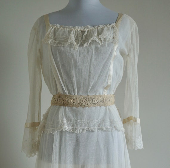 Edwardian Net Lace Dress, Antique 1910s Wedding D… - image 3
