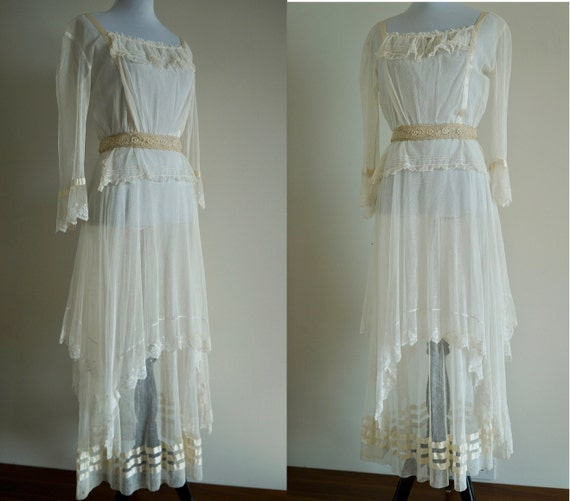 Edwardian Net Lace Dress, Antique 1910s Wedding D… - image 2