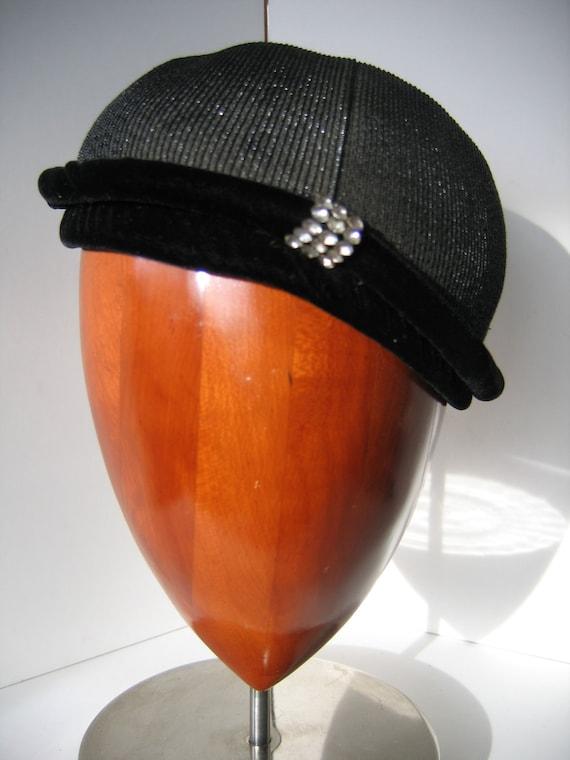 Elegant 50s Black Cocktail Cap/Hat, Straw with Vel