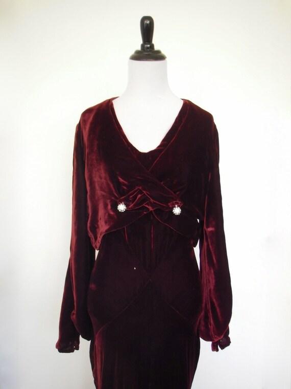 30s Burgundy Silk Velvet bias-cut Evening Dress wi