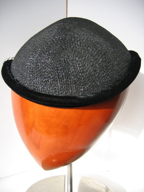 Elegant 50s Black Cocktail Cap/Hat, Straw with Ve… - image 2