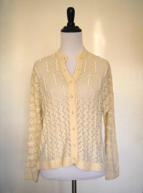 UNIQUE 1950's Creme Biege Open Knit Hand Beaded Ca