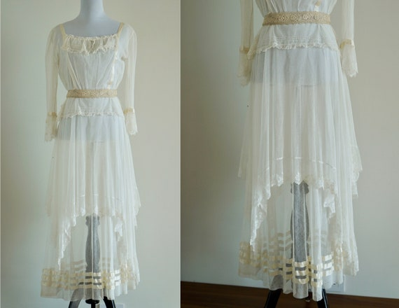 Edwardian Net Lace Dress, Antique 1910s Wedding D… - image 1