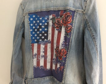 American flag and Roses Jean Jacket Back Patch Upcycled Denim Jacket Womens Size XLarge 16