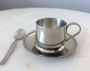 Vintage VEV Stainless Espresso Coffee Set Cup Saucer Spoon Made in Italy