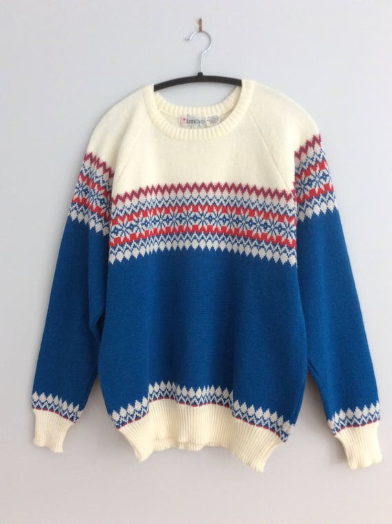 Blue And White Christmas Sweater.Vintage Fair Isle Sweater Blue Red White Snowflakes Pattern Ugly Christmas Sweater Mens Large