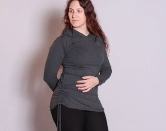 Ella Hoodie, Women's Hoodie, Women's Pullover, Lightweight Pullover, Scrunch Hoodie, Organic Clothing, Hemp Clothing, Bamboo Clothing